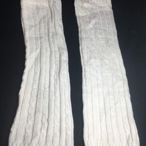 White knitted leg warmers